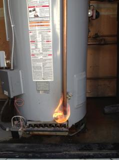 water heater on fire requires emergency plumbing repairs